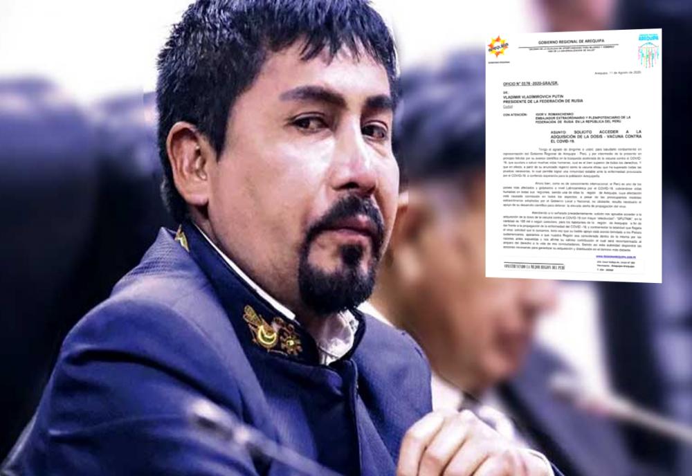 Arequipa: este es el documento que envió el gobernador Elmer Cáceres Llica al presidente de Rusia