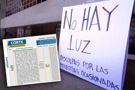 Arequipa: corte de luz en 7 distritos, este domingo 11