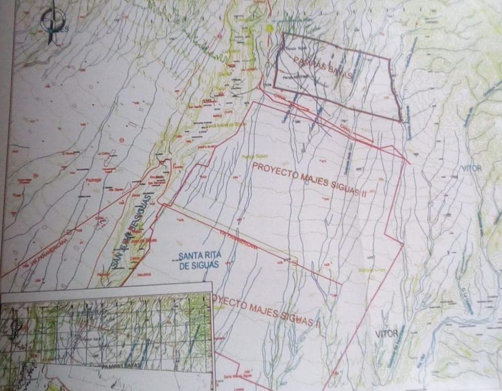 Mapa de Majes Siguas II y asociación Pampas Bayas