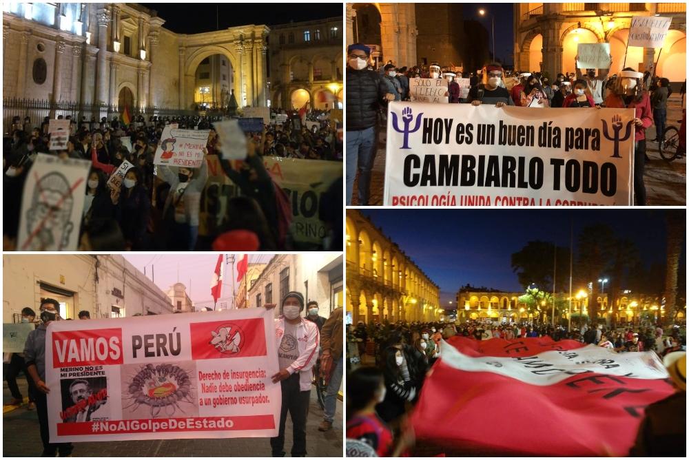 Marcha de protesta contra gobierno de Merino en la Plaza de Armas de Arequipa