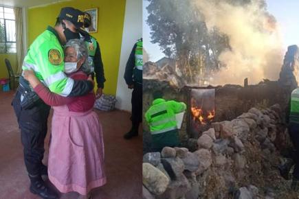 Policía llevó ayuda a anciana que perdió todo en incendio (Fotos y video)