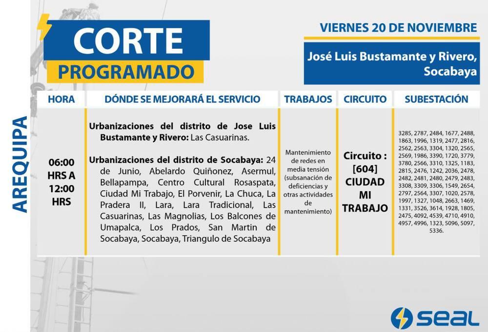 Corte anunciado por Seal Arequipa