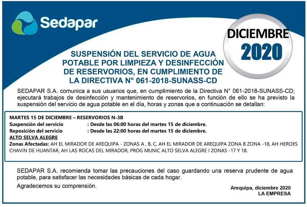 Corte de agua en Selva Alegre, Arequipa.