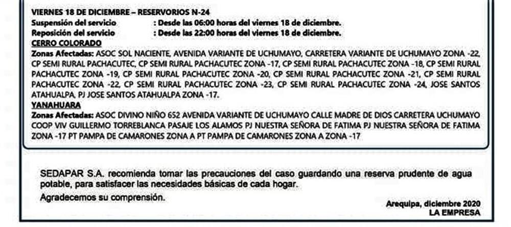 Comunicado por corte de agua en Arequipa.