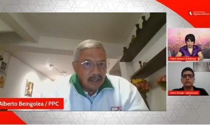 Pico a pico: Alberto Beingolea, candidato presidencial del PPC, con la Red de Medios Digitales