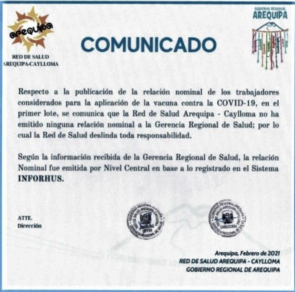 Comunicado por presunto favorecimiento de vacunas covid-19 en Arequipa.