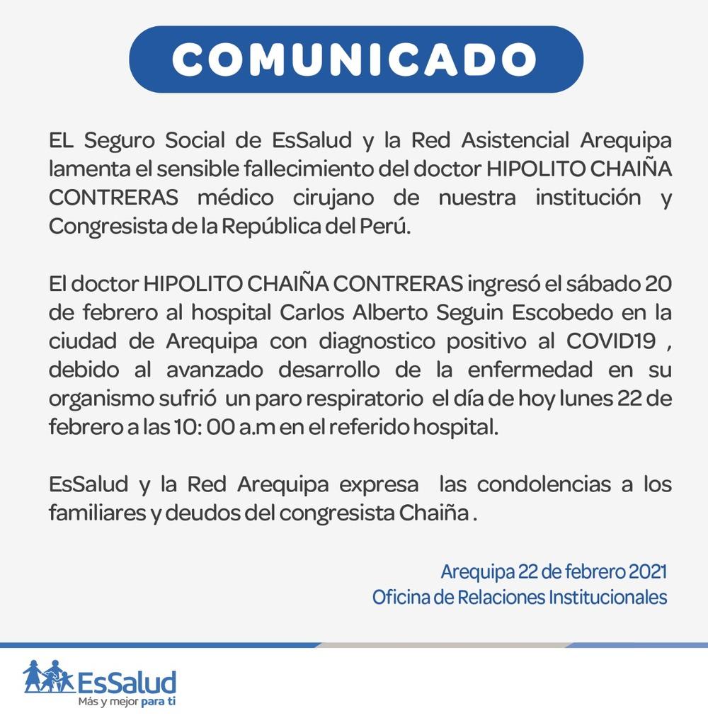 Fallecimiento de Hipólito Chaiña en Arequipa por covid-19.