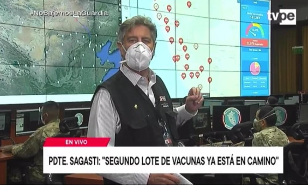 Presidente Sagasti sobre vacunas contra covid-19.