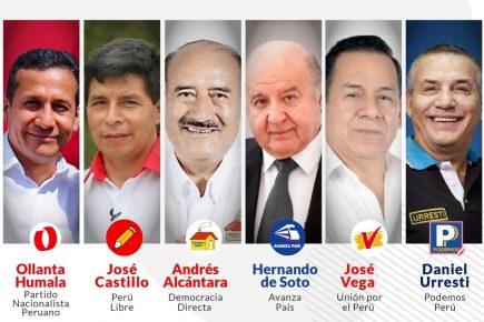 Debate presidencial del JNE: De Soto, Urresti, Castillo, Humala, Alcántara y Vega