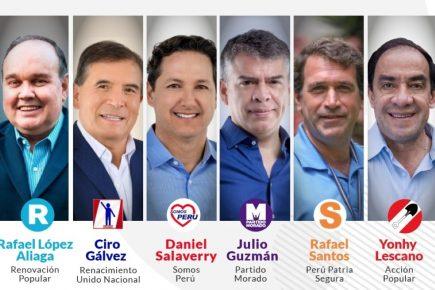 Tercer debate presidencial del JNE: Lescano, López Aliaga, Guzmán, Salaverry, Gálvez y Santos