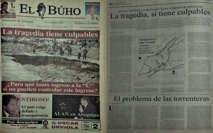 #Hace20Años El problema de las torrenteras y alcantarillado pluvial en Arequipa