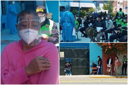 Arequipa: vacunación a policías comenzó con demoras y largas colas