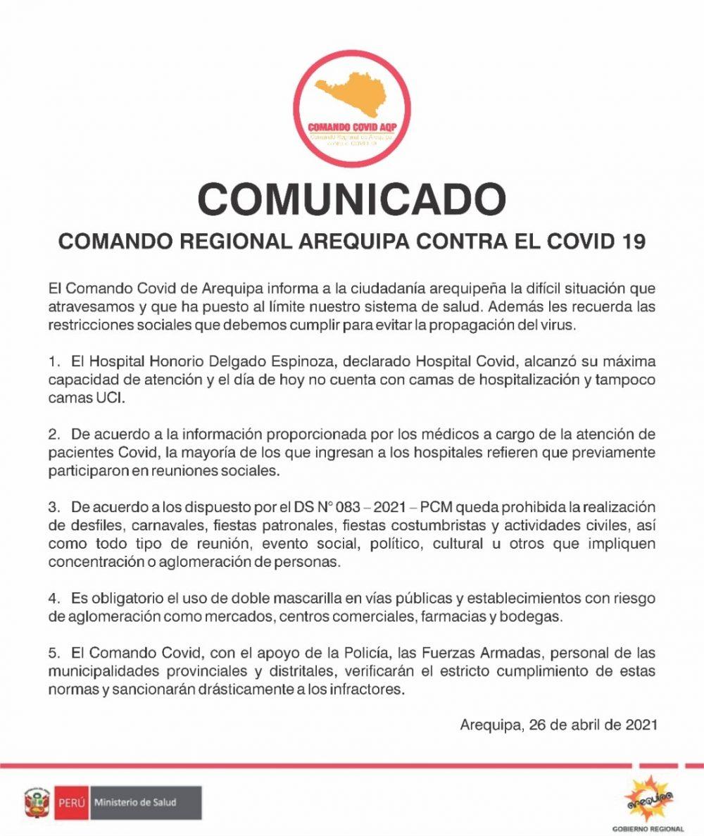 Comunicado del comando covid Arequipa