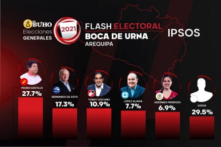 Elecciones 2021: En Arequipa Pedro Castillo obtuvo 27.7% de votos