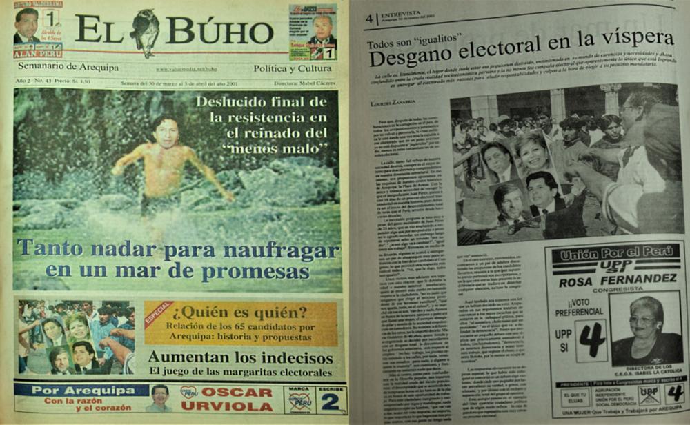 Elecciones 2001 en semanario El Búho.