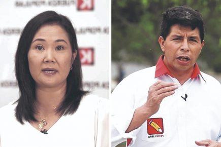 Pedro Castillo supera en el sur con 54.7% a Keiko Fujimori que tiene 12.3%, según IEP