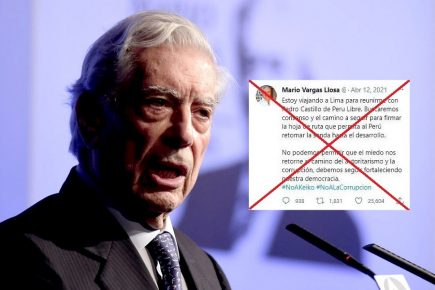 Es falso tuit de Vargas Llosa sobre firma de  hoja de ruta con Pedro Castillo