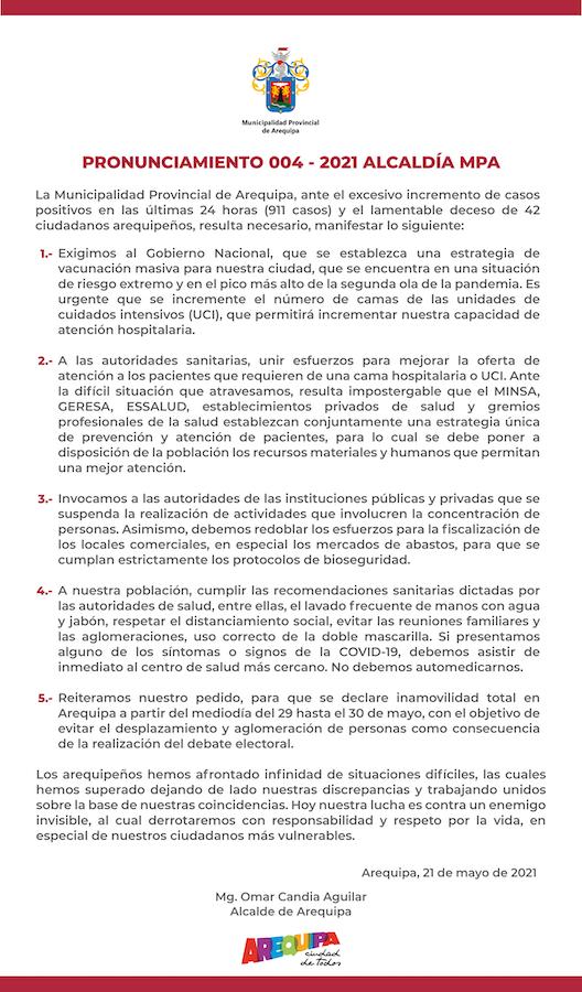 comunicado municipalidad provincial de arequipa