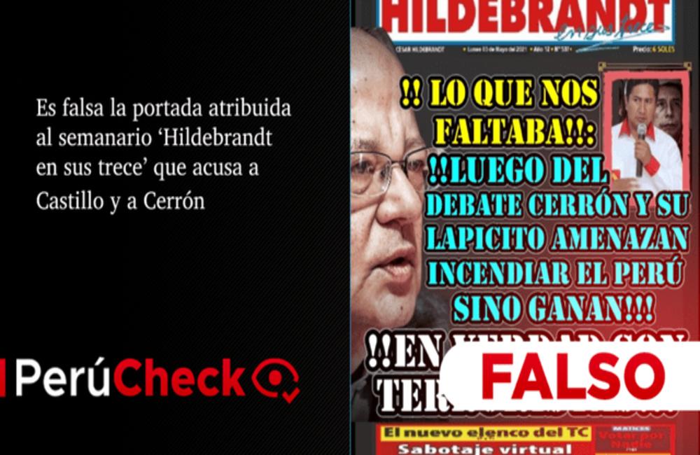 Portada falsa sobre Pedro Castillo y Vladimir Cerrón