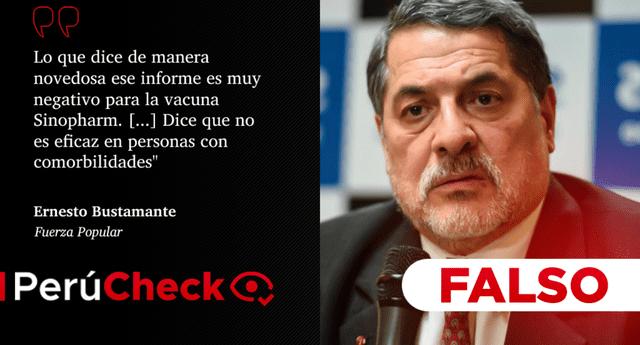 El congresista electo por Fuerza Popular, Ernesto Bustamante, afirmó que la OMS probó que la  vacuna de Sinopharm no es eficaz en personas con comorbilidades