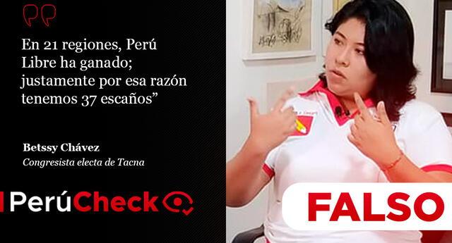 Es falso lo que dijo Betssy Chavez sobre Perú Libre