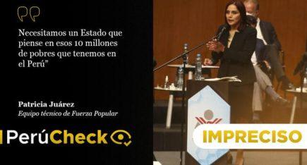 """Es impreciso que en el Perú existan """"10 millones de pobres"""", como afirmó Patricia Juárez"""