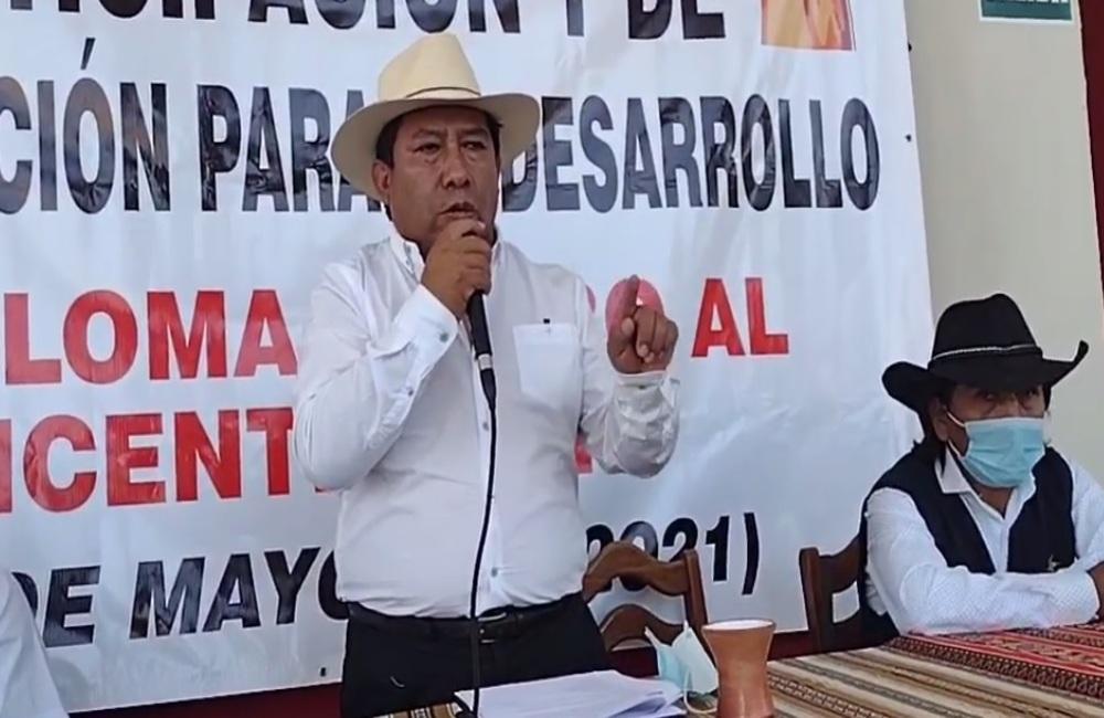 Richard Cáceres Uscamayta, presidente del Frente de Defensa y Desarrollo de los Intereses de la provincia de Caylloma (Arequipa).