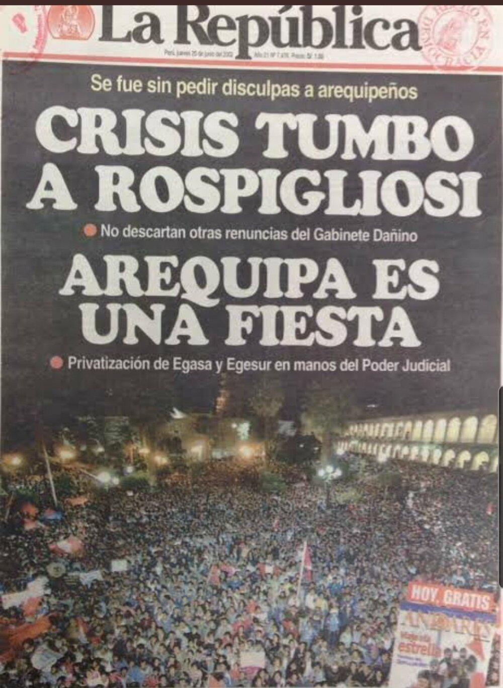 El fin del Arequipazo también trajo como consecuencia la destitución de Rospigliosi.