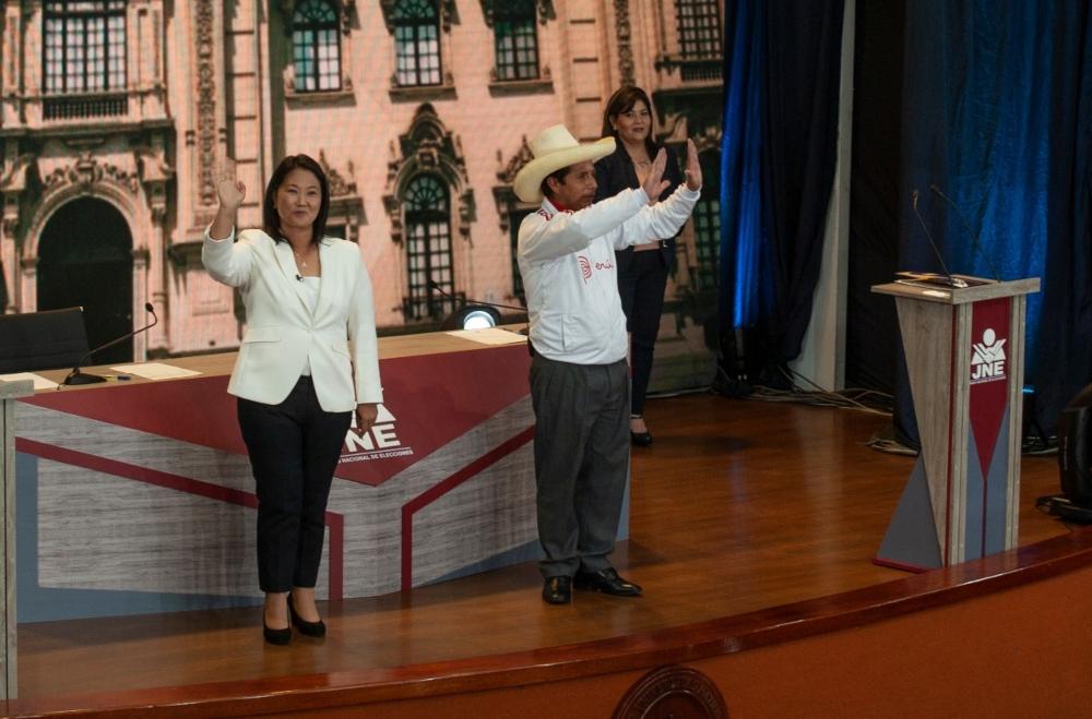 Keiko Fujimori y Pedro Castillo en debate en Arequipa