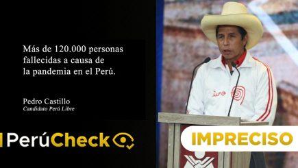 Es impreciso decir que hubo más de 120 mil fallecidos por pandemia como afirmó Castillo