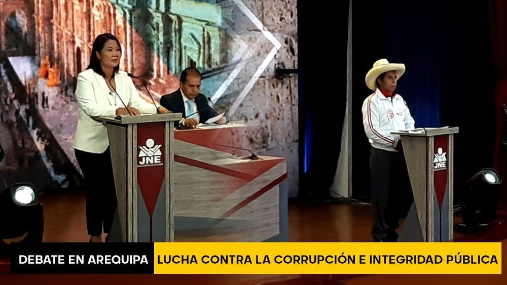 Debate en Arequipa: Keiko Fujimori y Pedro Castillo sobre lucha contra la corrupción e integridad pública.