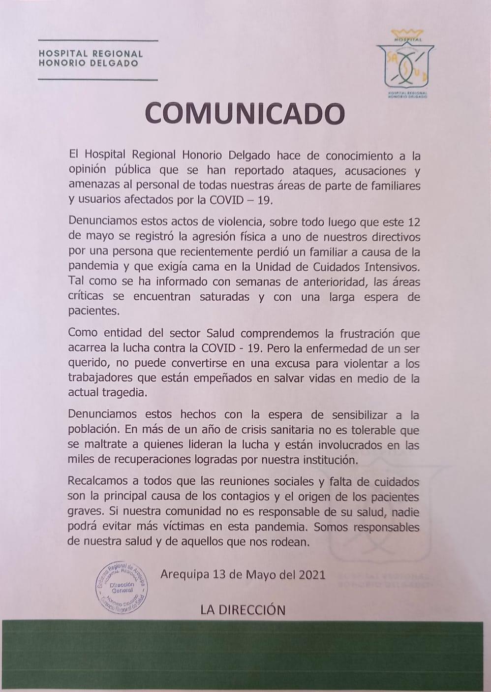 Comunicado de hospital para pacientes covid-19 en Arequipa.