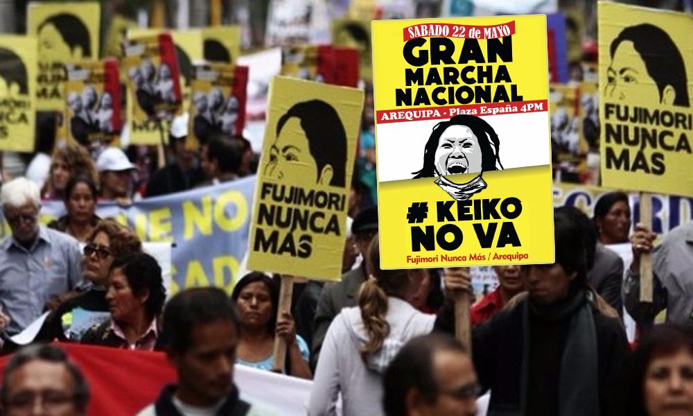 Keiko no va, Fujimori nunca más, marcha en Arequipa.