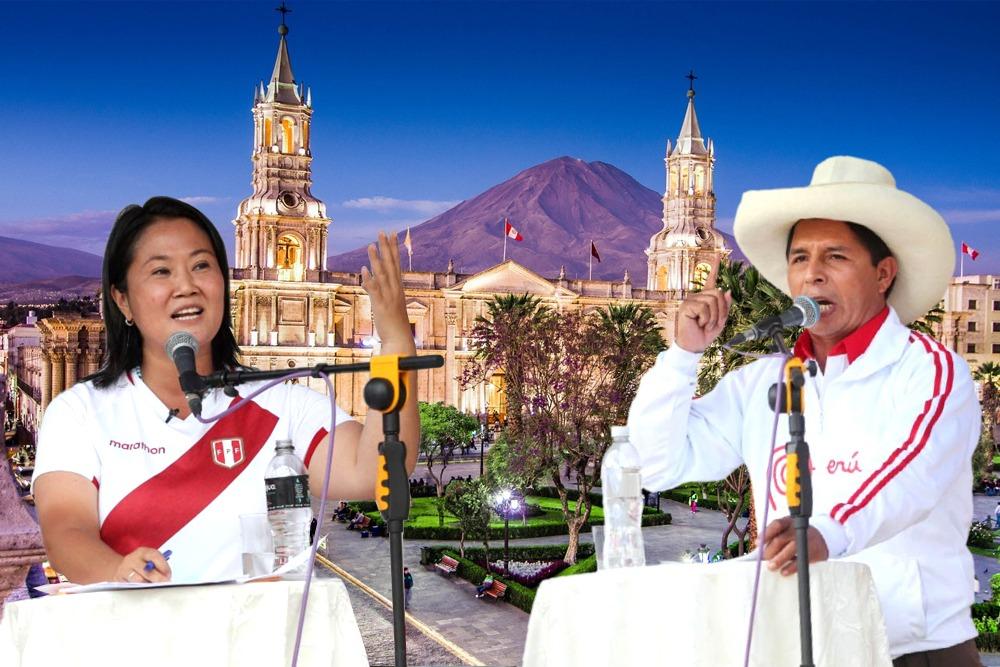 Debate en Arequipa, entre Pedro Castillo y Keiko Fujimori.