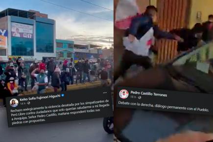 Así recibieron en Arequipa a Castillo y Fujimori: agresiones y heridos