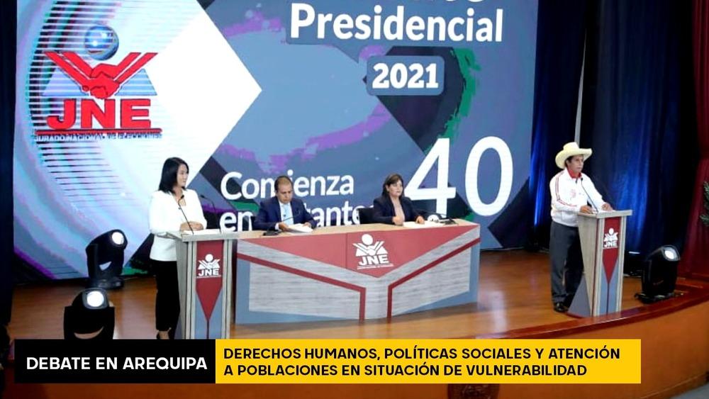 Debate en Arequipa: Keiko Fujimori y Pedro Castillo sobre DD.HH. y políticas sociales