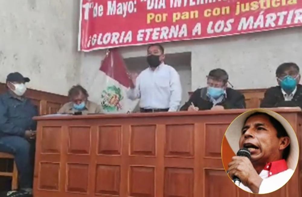 Frente a favor de Pedro Castillo, en Arequipa.
