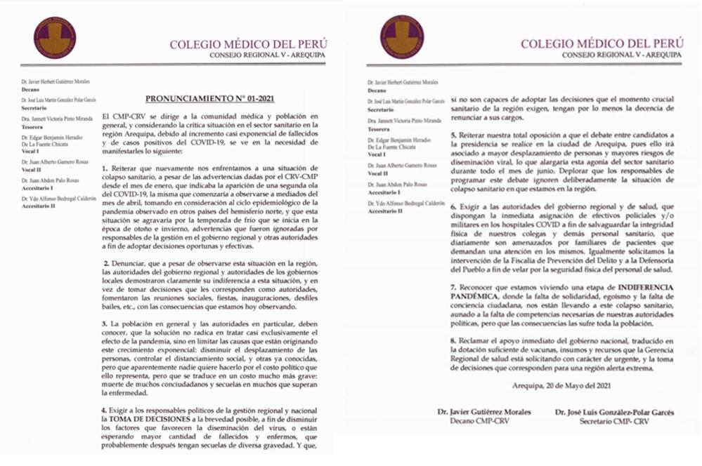El día de ayer, 20 de mayo, el Colegio Médico de Arequipa emitió también un comunicado.