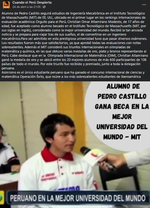 La publicación en mención dondese afirma que Pedro Castillo es profesor del alumno.