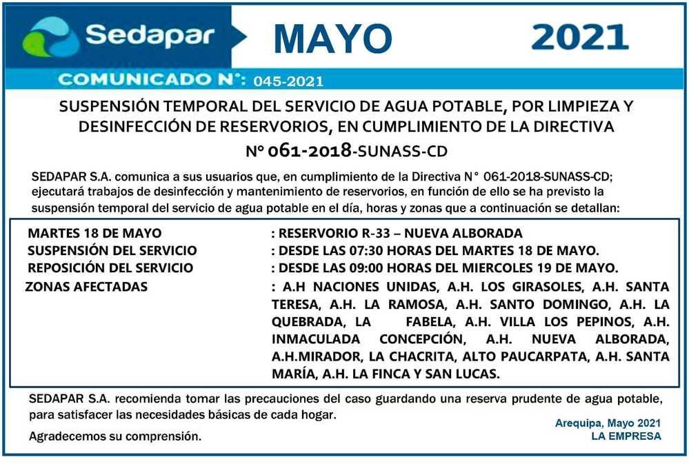 Corte de agua en Arequipa