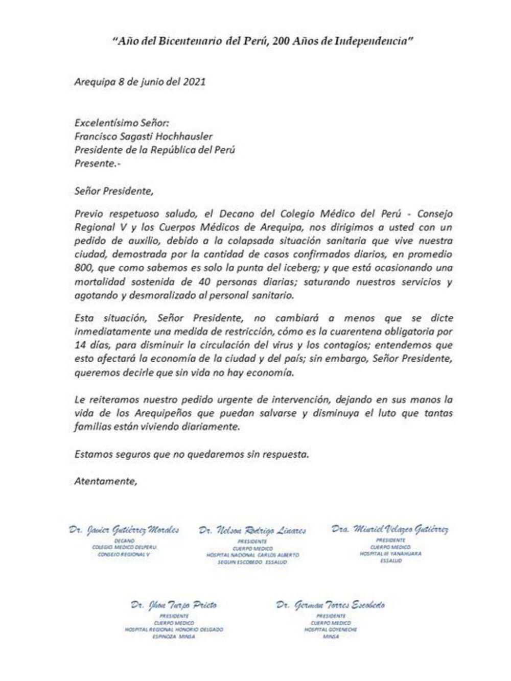 Documento donde los representantes de los cuerpos médicos de los hospitales Honorio Delgado Espinoza, Yanahuara III, Goyeneche y Carlos Alberto Seguín Escobedo solicitaron poner en cuarentena a toda la región por 14 días.