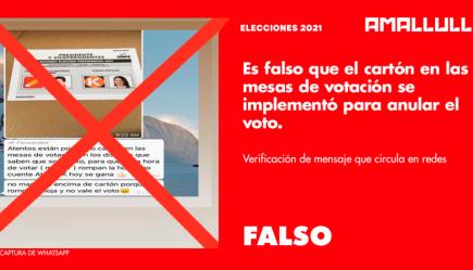 Es falso que el cartón en las mesas de votación se implementó para anular votos