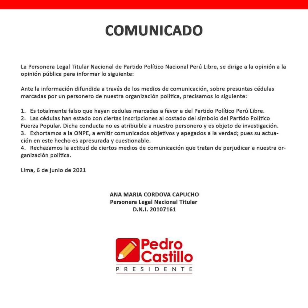 Comunicado de Perú libre.