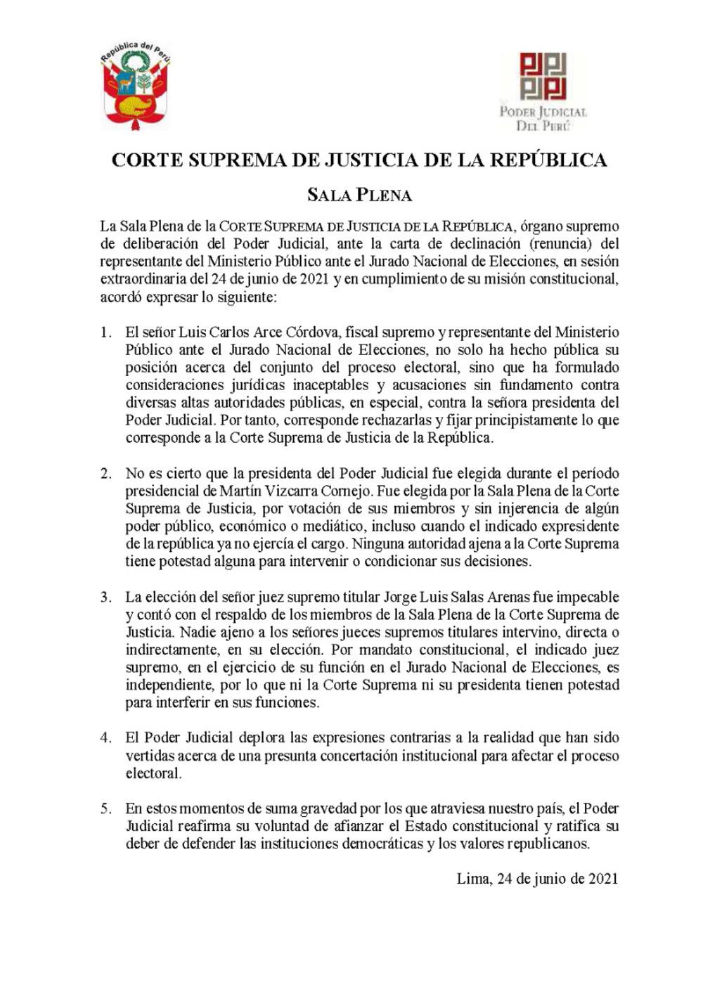Corte Suprema deplora expresiones de Luis Arce sobre presunta concertación institucional