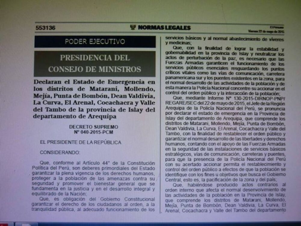 Decreot supremo sobre Islay, Arequipa.