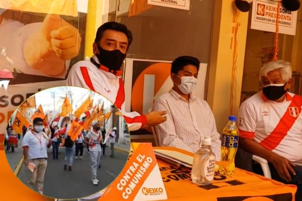"""Arequipa: Fuerza Popular realizó """"Caminata por la democracia"""", por cierre de campaña."""