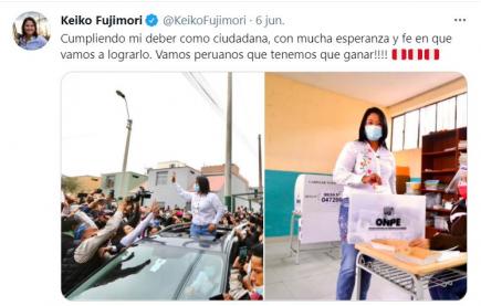 Es falso que acta de mesa donde votó Keiko Fujimori fuera declarada ilegible por JNE