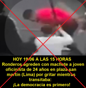 Es falsa imagen de supuestos ronderos que agreden con machete a un joven