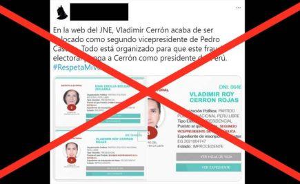 [FALSO] Versión que JNE ha incluido a Vladimir Cerrón en la plancha de Perú Libre