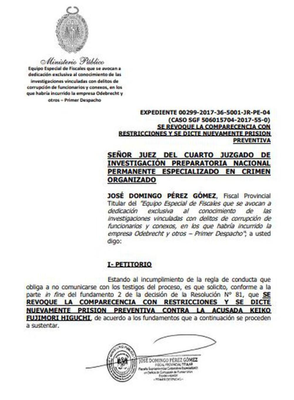 Documento enviado por José Domingo Pérez, para prisión preventiva contra Keiko Fujimori.